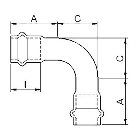 IBP B-Press Inox 90° Bend, d 42 [Code number: PS5002