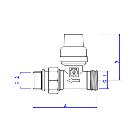 VALTEC Thermostatic straight valve with a self-sealing one