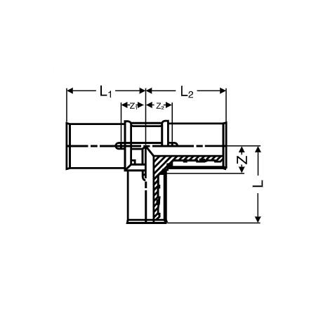 Wavin Future K1 (Alupex) Reducing T-piece, d 25, d1 25, d2