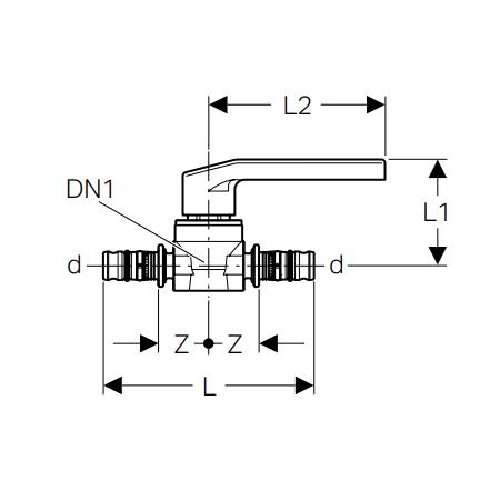 Geberit Mepla Ball valve with actuator lever, gunmetal