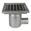 Photo ATT Drain MINI, single-hull, horizontal, with siphon trap, mesh strainer and square grating, DN50 [Code number: Wm200/50H1]