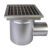 Photo ATT Drain MINI, single-hull, horizontal, with siphon trap, mesh strainer and square grating, DN110 [Code number: Wm200/110H1]