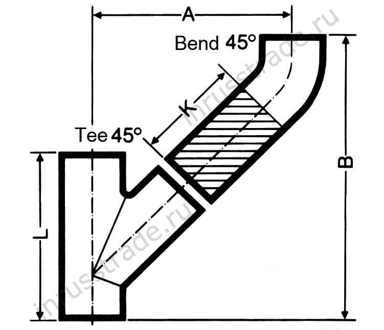 Connection of PAM tee 45˚ and bend 45˚ (outlet at the top)
