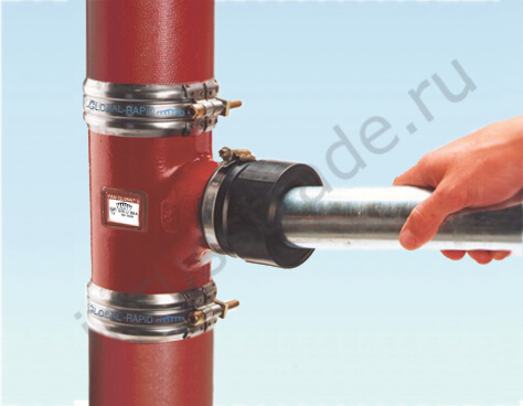 Pipe is inserted into the connecting element